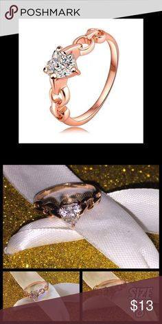 Beautiful Rose Gold Crystal Heart Ring Size 8 Sale tonight only 20% off 3 or more   Size 8 Rose gold heart ring Stunning and beautiful    💯Brand new High quality💯 💯What u see is what u get💯 ➕20 off  3 or more➕ ❤Please check out my closet❤ ⛔All prices have Been reduced⛔ ✔Buy with confidence ⭐⭐⭐⭐⭐ Top Rated Seller ⚡next day shipping ❤Trying to raise money 4 my family thank u all 4 every share like n purchase❤ Jewelry Rings