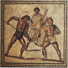 Fight of gladiators. Floor mosaic from one of the villas. Ca. 250 C.E.Nennig on Mosel (Germany), Roman Villa.