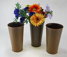 """Rust Look Buckets 9"""" tall French style 3 pc great for flowers by COI"""