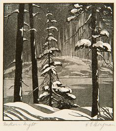 ✨ Henry Eric Bergman (Canadian 1893 - 1958) - Northern Night, Wood Engraving, pencil signed and titled, monogrammed HEB and dated 1926