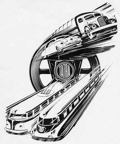 """CARS Advertising  -  """"Tatra"""", b/ n ink illustration, brochure advertising."""