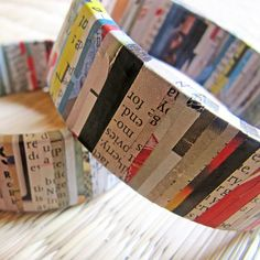 An Eco Friendly Bangle made completely out of recycled materials - Glossy newspaper strips neatly wrapped on thick cardboard ring of a finished duct tape roll. The bangle has a coat of varnish (sealer) to make it water resistant. However, keep them away from water as much as you can, and they will stay in perfect condition for a long long time.