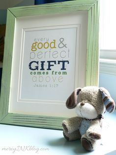JAMES 1:17 - Digital File to Print - Christian Nursery Scripture Subway Art - Baby Boy Room Decor - New Baby Shower Gift NAVY MUSTARD. $5.00, via Etsy.