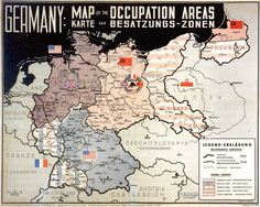 """Official map from 1945 showing the Allied allocation of the occupied German territories. Text is in English and German. The territories east of the Oder-Neisse line that were granted to Poland are here described as """"Polish territory"""". Wikipedia - """"Allied-occupied Germany"""""""