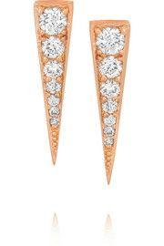 Small Dagger 18-karat rose gold diamond earrings