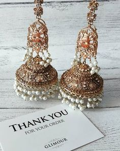 62aed64a2 @glimour_jewellery — Glimour Jewellery. Gorgeous light antique gold  statement Jhumki earrings.