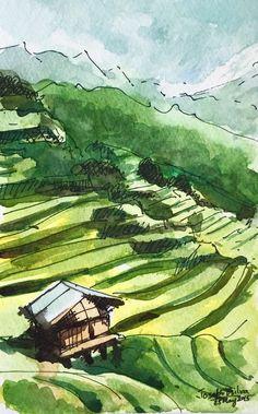 A personal favorite from my Etsy shop https://www.etsy.com/ca/listing/238886794/vietnam-terrace-field-vietnam-watetcolor