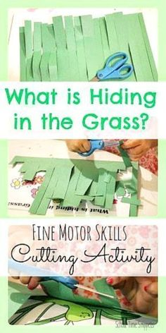 Work on fine motor skills with this fun spring scissor skills activity that is inspired by the book, In the Tall, Tall Grass. Your preschooler will LOVE cutting the grass to find what is hiding there!