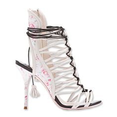 Sophia Webster Lacey Gardinia Rose Print Leather Sandal