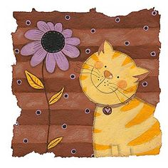 Sophie Harding - Yellow Cat on Brown I
