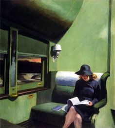 Compartment C, Edward Hopper.    Also, my travel wardrobe dream. I want to travel in style like her.