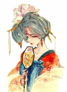 drawings of personalities Anime Art Girl, Manga Art, Character Art, Character Design, Chinese Drawings, Geisha Art, China Art, Japanese Art, Sketches