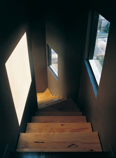 Staircase looking out to the street, Wolf House by Pezo von Ellrichshausen Arquitectos #architecture