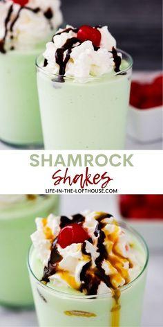 Frozen Desserts, Frozen Treats, Yummy Treats, Yummy Food, Yummy Recipes, Holiday Recipes, Holiday Foods, Shamrock Shake, Mint Ice Cream