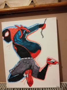 Paper on canvas. Miles Morales, Canvas Art, Paper, Artwork, Art Work, Work Of Art, Auguste Rodin Artwork, Canvas Paintings, Canvases