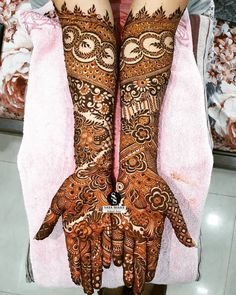 full bridal arms 🍃 // by Wedding Henna Designs, Indian Henna Designs, Engagement Mehndi Designs, Back Hand Mehndi Designs, Latest Bridal Mehndi Designs, Mehndi Designs Book, Mehndi Designs 2018, Mehndi Design Pictures, Unique Mehndi Designs