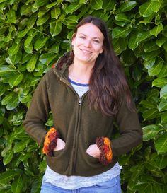 SALE Wool Sweater Jacket w Crochet Hood Mosaic Jacket Women