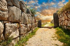Stone wall & gate to Tiryns, Mycenaean city archaeological site, Peloponnesos, Greece. A UNESCO World Heritage Site