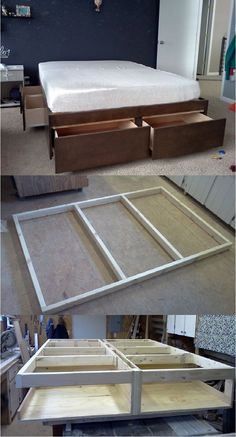 16 Storage DIY's to Pack More Stuff Under the Bed (Woodworking Bed) Diy Storage Bed, Small Bedroom Storage, Storage Ideas, Small Bedrooms, Diy Bett, Woodworking Bed, Woodworking Projects, Home Projects, Home Furniture