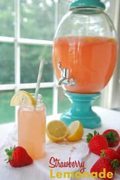 """Recipe for Strawberry Lemonade  (Love the color of the container too!)"" #spring #recipe #lemon"