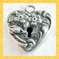 Vintage Forget-Me-Not Padlock Puffy Heart Sterling Charm