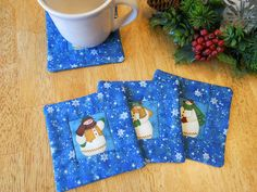 Snowman Fabric Coasters  Quilted Coaster Set by GingerSweetCrafts, $9.00
