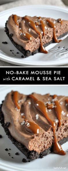 A no-bake Oreo-crusted silky chocolate mousse pie drizzled with caramel and sprinkled with sea salt. Sublime!