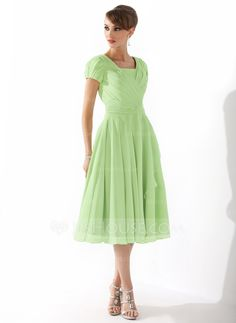 this is the dress I keep seeing in a lovely blue color... modest enough for a certain bridesmaid A-Line/Princess Square Neckline Knee-Length Chiffon Mother of the Bride Dress With Ruffle Beading (008005918) - JJsHouse