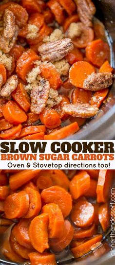 Slow Cooker Brown Sugar Carrots are an easy (and inexpensive) side dish for your. Slow Cooker Brown Sugar Carrots are an easy (and inexpensive) side dish for your holiday meals! Much lower in calories than sweet potatoes with a similar awesome flavor! Crockpot Carrots, Carrots Slow Cooker, Carrots In Oven, Carrots Side Dish, Crockpot Veggies, Cooked Carrots, Camping Side Dishes, Side Dishes Easy, Crockpot Side Dishes