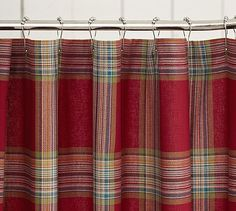 Christmas shower curtain! Blake Plaid Shower Curtain #potterybarn