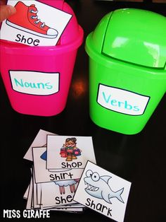 Mini trash cans are perfect for sorting words by parts of speech… so many ideas for teaching reading and writing on this post