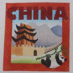 Denise DeRusha China Hand Painted Needlepoint Canvas 18 count