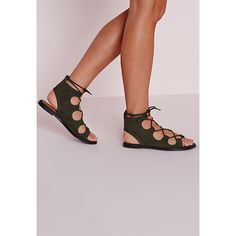 Missguided Lace Up Flat Gladiator Sandals ($43) ❤ liked on Polyvore featuring shoes, sandals, khaki, flat gladiator sandals, lace up gladiator sandals, cut out gladiator sandals, cutout sandals and roman sandals