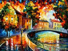 Leonid Afremov Old Bridge oil painting reproductions for sale