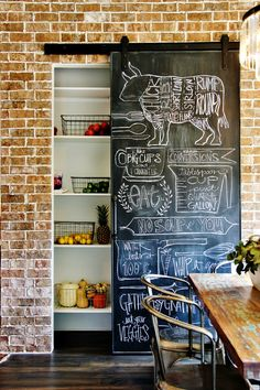Cover your pantry with a chalkboard barn door—it's the perfect spot to write a dinner menu, or to keep a grocery list for the whole family.