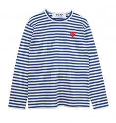 Comme Des Garcons Play Striped Navy Longsleeve T Shirt - Trouva Nautical Shirt, Designer Clothes For Men, Online Fashion Stores, Long Sleeve Shirts, Mens Fashion, Men's Shirts, Men's Clothing, Mens Tops, T Shirt