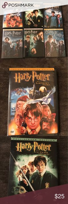 6 Harry Potter Movies on DVD 1. Harry Potter and the Sorcerers Stone; 2. Harry Potter and the Chamber of Secrets; 3. Harry Potter and the Prisoner of Azkaban; 4. Harry Potter and the Goblet of Fire; 5. Harry Potter and the Order of the Phoenix; and 6. Harry Potter and the Half Blood Prince. Other