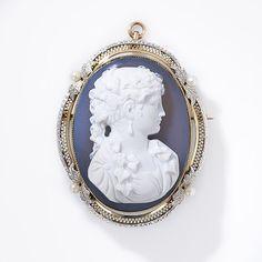 Blue Agate Cameo Pin -