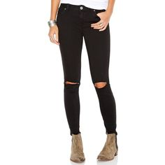 Free People Destroyed Skinny Jeans, Black Wash ($78) ❤ liked on Polyvore featuring jeans, black, black jeans, ripped skinny jeans, free people jeans, black distressed jeans and distressed skinny jeans