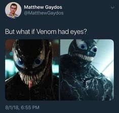 All the Marvel and Spiderman fans are eagerly waiting for the release of the Venom movie. Venom's trailer already making fans crazy and, not to forget Funny Venom Memes. We should not expect Venom to fight Thanos Marvel Jokes, Avengers Memes, Marvel Funny, Funny Comics, Marvel Avengers, Marvel Comics, Funny Cute, The Funny, Daily Funny