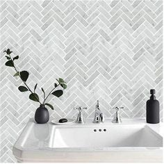 Bath Wall and Floor Mosaic Tile Kitchen Backsplash Herringbone Marble Carrara Wh . Bath Wall and Floor Mosaic Tile Kitchen Backsplash Herringbone Marble Carrara White Sheet Size Larger, Backsplash Herringbone, White Herringbone Tile, Herringbone Pattern, Marble Tile Backsplash, Herringbone Floors, Kitchen Wall Tiles, Bathroom Flooring, Kitchen Flooring, Patterned Kitchen Tiles