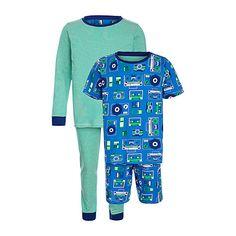 Buy John Lewis Boy Record Print Pyjama, Pack of 2, Blue/Green Online at johnlewis.com