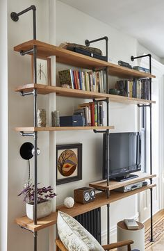 Shelving with wood and pipes from Home Depot
