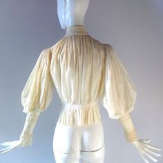 Antique Victorian Puff Sleeve Cotton Lace Blouse Downton Era XS SM 0 2 Costume in Clothing, Shoes & Accessories, Vintage, Women's Vintage Clothing, Pre-1901 (Victorian & Older) | eBay