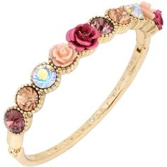 Betsey Johnson Gold-Tone Rose and Crystal Hinge Bangle Bracelet