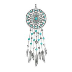 Beautiful as a dream: The imaginative dreamcatcher pendant made of blackened 925 Sterling silver, imitation turquoise and white zirconia pavé is a statement piece to accompany every #Boho and #Festival style. The ornamentation and jewellery colour are inspired by cultural items of jewellery.