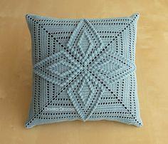 Starflower Pattern 12 Crochet Square Pillow READY TO