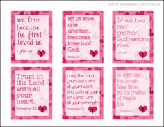 Free printable religious themed valentines for kids for St. Valentine's Day, featuring Bible verses from both the Old and New Testaments