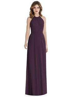 The eye-pleasing silhouette of this full-length luxe chiffon After Six Bridesmaid Dress 1515 delivers a sophisticated look for evening events. With a gathered halter neckline and tie detail at its cutout back. Purple Wedding Guest Dresses, Dark Purple Bridesmaid Dresses, Dessy Bridesmaid Dresses, Dark Purple Dresses, Wedding Dresses, Bridesmaids, Halter Maxi Dresses, Chiffon Maxi Dress, Modest Formal Dresses