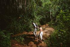 Kauai HI Napali Coast Kalalau Trail Elopement Adventure Hike Couple Holding Hands